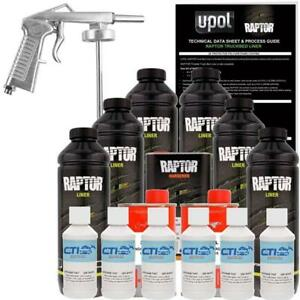 U Pol Raptor Gm White Urethane Spray On Truck Bed Liner W Free Spray Gun 6 L