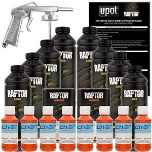 U pol Raptor Orange Crush Urethane Spray on Truck Bed Liner W free Spray Gun 8l