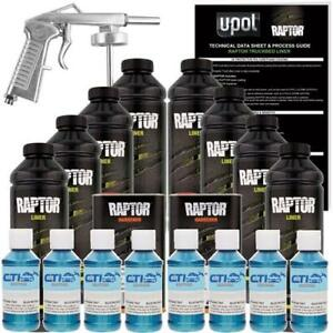 U pol Raptor Blue Metallic Urethane Spray on Truck Bed Liner W free Spray Gun 8l