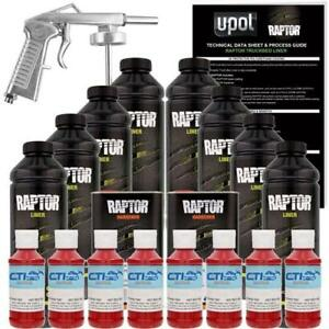 U Pol Raptor Hot Rod Red Urethane Spray On Truck Bed Liner W Free Spray Gun 8l
