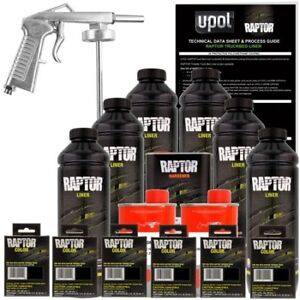 U Pol Raptor Pine Green Urethane Spray On Truck Bed Liner W Free Spray Gun 6l