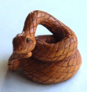 Hand Carved Japanese Snake Signed Price Reduced