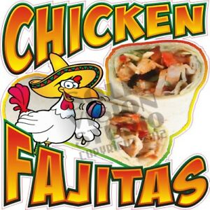 Chicken Fajitas Concession Trailer Mexican Food Truck Vinyl Sticker Menu Decal