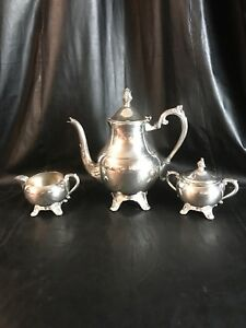 F B Rogers Silver Co 1883 Silver Plated 3 Piece Coffee Tea Samovar Serving Set