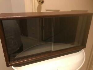 Mid Century Modern Small Cabinet Display Case Shadowbox W Sliding Clear Doors