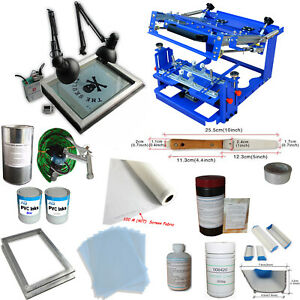 1 Color Screen Printing Kit Cylinder Press Machine With Exposure Diy Materials