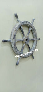 Nautical Vintage 24 Ship Wheel Boat Steering Maritime Handcrafted Wall Decor