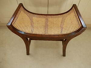 Antique Regency Caned Stool Curved 60 Cm Long 45 Lowest
