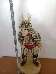 Nice Hand Carved Old Cattle Bone Japanese Samurai Sword Sculpture Statue