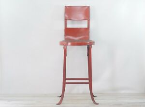 Vintage Red Industrial Stool Angle Steel Stool Co Stool Metal Stool 2