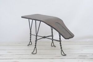 Old Antique Wood Wrought Iron Shoe Salesman Fitting Stool Or Bench Seat