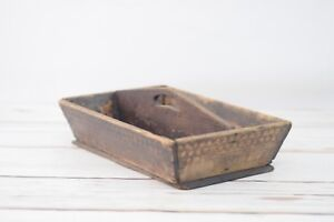 Antique Primitive Early Wood Carrier Tote Tool Box Farriers Nail Tote