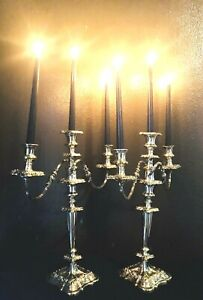 Fine Master Pair Of Antique Silverplate Candelabra Attributed To Sol Goldfeder