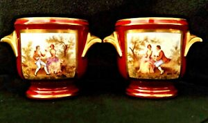 Sevres Matched Pair Of Porcelain Hand Painted Jardiniere Or Cache Pots