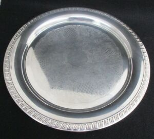Leonard Ep Antique Silver Plated Round Serving Tray Platter Scroll 12 Diameter
