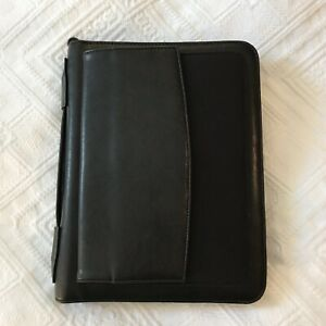 Daytimer Black Leather Zip Panner Cover Organizer 6x9 Black Zipper Classic Exc