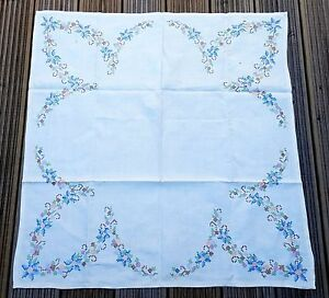 Antique Victorian Linen Tablecloth Hand Stitched Embroidered Floral Detailing