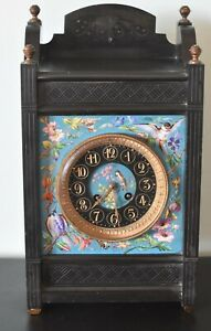 Hand Painted French Antique La Cloisonne Clock From Later 19th Century