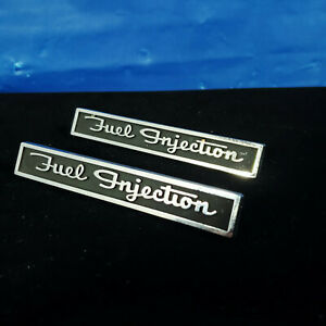 Pair Of 62 Chevy Corvette Fuel Injection Emblems 1962 Never Mounted Hot Rod