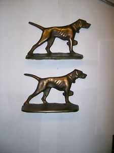 Hunting Pointer Dog Bookends Art Deco Era Cast Iron With Copper Wash S226