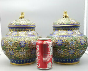 Pair Large Chinese Jingfa Cloisonn Champleve Gilt Urns With Foo Dog Finial 9 5