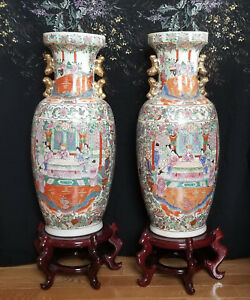 Large Mirror Pair Chinese Porcelian Famille Rose Medallion Vases 25 H