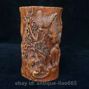 Collect Chinese Box Wood Hand Carved Animal Birds Flower Brush Pot Pencil Vase