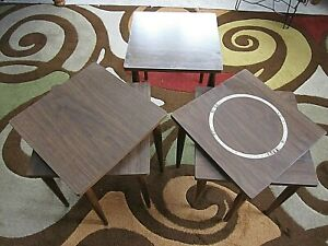Danish Mid Century Modern 5 X Nesting Stacking Tables Cone Legs Tile Tops