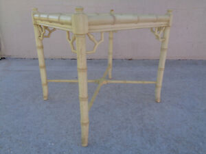 Vtg Tlc Project Allegro Faux Bamboo Fretwork Accent Side Table Hollywood Regency