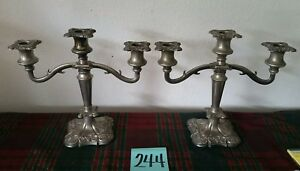 Rare Set Of 2 Silverplate Candelabras 3 Candlestick Grapes Vines Made In England