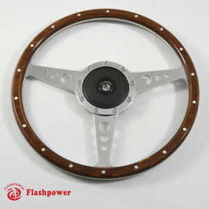 16 Classic Riveted Wood Steering Wheel Horn Button Mgtriumph Jaguar Marine Boat