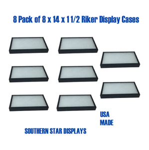 8 Pack Of 8 X 14 X 1 1 2 Riker Display Case Box Collectibles Arrowheads Jewelry