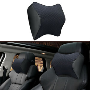 Black Car Seat Headrest Pad Memory Foam Neck Pillow Head Rest Support Cushion