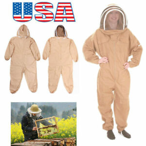 L xl xxl Pro Full Body Cotton Beekeeping Bee Keeping Suit With Veil Hood us