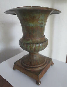 Cute Small Vintage Cast Iron Garden Urn Planter With Some Rusty Patina