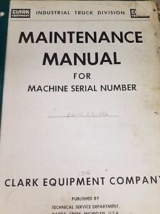 Clark Forklift Eutd Maintenance Manual
