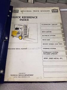 Clark Forklift Ecls20 Quick Reference Index Manual