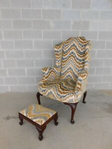 Vintage Chippendale Style Wing Back Chair Foot Stool
