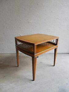 Vtg Weiman Heirloom Neo Classical Hollywood Regency Banded Inlaid Accent Table