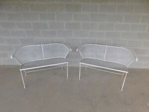 Vintage Wrought Iron Mid Century Style Bench A Pair