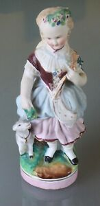1870 Early Bisque Staffordshire Shepard Girl With Goat Great Colors 8 Tall