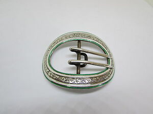 William B Kerr Belt Buckle Sterling Enamel Vintage Antique Victorian