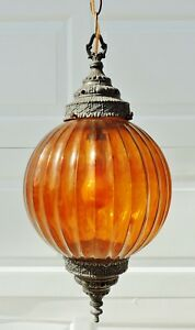 Vintage Mid Century Amber Glass Swag Chandelier Gothic Hanging Lamp Light 5376
