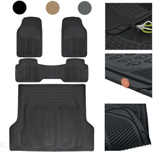 Car Rubber Floor Mats With Cargo Trunk Liner 4 Pieces Heavy Duty Set Trimmable