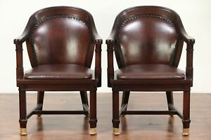 Pair Of Antique Mahogany Banker Desk Or Office Chairs Leather 29462
