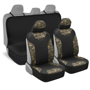 Camouflage Neoprene Waterproof Sideless Full Seat Cover Set For Car Truck Suv