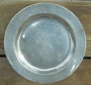 Antique English 1700 S Solid Pewter 15 Charger Plate With Lion