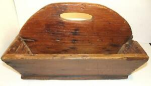 Antique Primitive 2 Section Wooden Tool Caddy W Saw Slot Rustic Find Late 1800s
