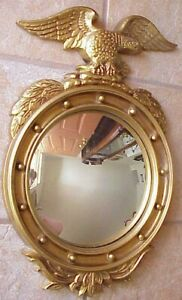 Vintage Lrg 23 Colonial Americana Federal Style Eagle Round Bubble Wall Mirror