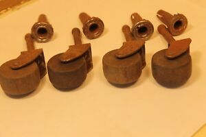 Set Of 4 Vintage Wooden Wheels Casters With Sleeves Table Chair Dresser 3 Tall